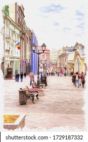 Oil paint on canvas. Picture with photo, imitation of painting. Illustration. Kuznetsky Most street in the historical center of city. Moscow city