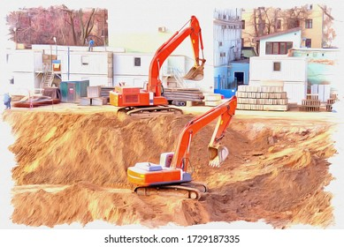 Oil paint on canvas. Picture with photo, imitation of painting. Illustration. Excavators digging a foundation pit for the future building. Moscow city