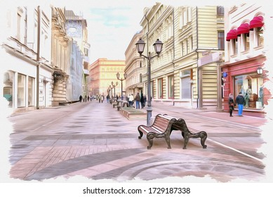 Oil paint on canvas. Picture with photo, imitation of painting. Illustration. Nikolskaya Street in the historical center of city. Moscow city