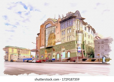 Oil paint on canvas. Picture with photo, imitation of painting. Illustration. Trendy shopping center on Lubyanka Square in the historic center of the city. Moscow city