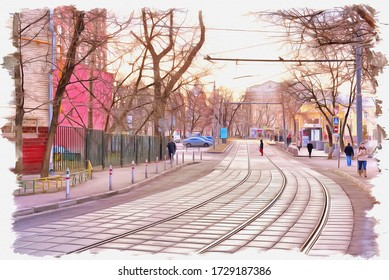 Oil paint on canvas. Picture with photo, imitation of painting. Illustration. Tram rails on the street Sadovnichesky passage. Moscow city