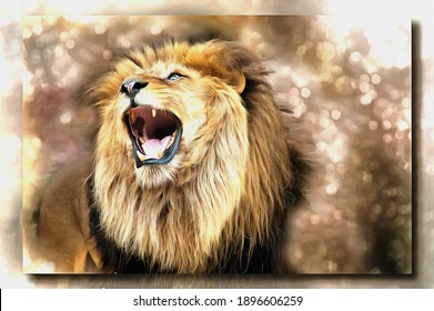 Oil paint on canvas. Picture with photo, imitation of painting. Illustration. Predatory animal a lion publishes roar