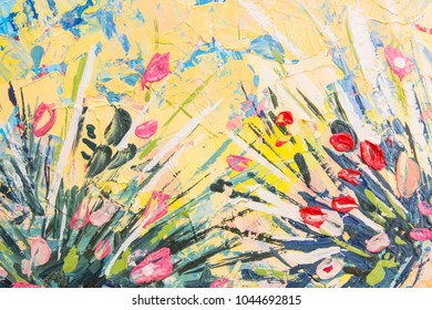 Oil paint postcard. Spring postcard. Summer postcard. Abstract oil paint texture. Abstract background. Skratched background. Oil. Horizontal. Cover design concept