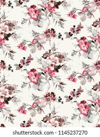 Oil Paint Style Flowers Branches Beautiful Design Seamless Pattern Tiny flowers