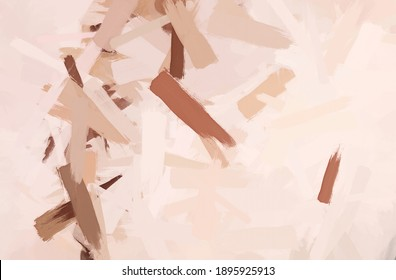 Oil painted abstract depiction of an unprotected human body. Image for interior decoration in the style of modern art, made in pink, brown and flesh tones.