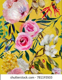 oil painted seamless bright floral pattern