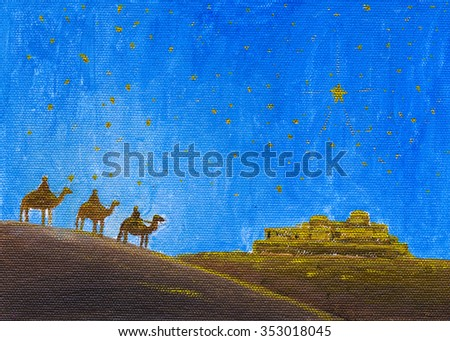 Oil Painted Three Wise Man Looking Stock Illustration 353018045