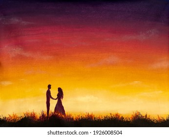Oil painting with acrylic watercolor silhouette of couple in love on background of yellow orange purple sunset. Free space for text. Valentines Day. Happy Lovers. For card or poster