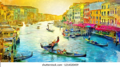 oil painting of Amazing view on the beautiful Venice, Italy. Many gondolas sailing down one of the canals. watercolor, oil on canvas, wallpaper, buildings, river, sunset, art, artwork