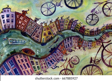 Oil painting of Amsterdam (river, houses, bikes)