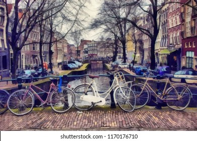 Oil painting. Art print for wall decor. Acrylic artwork. Big size poster. Watercolor drawing. Modern style fine art. Art for sale.  Beautiful european cityscape. Holland. Amsterdam. Travel and tourism