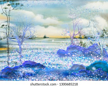 Oil painting artwork with snowy winter landscape.