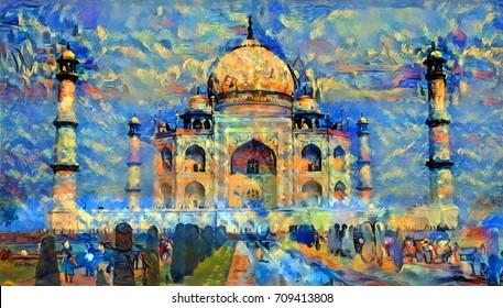 oil painting artwork of taj mahal, india