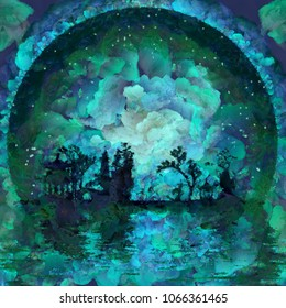 Oil painting. Asian silhouettes on waterfront. Giant moon at the horizon. 3D rendering