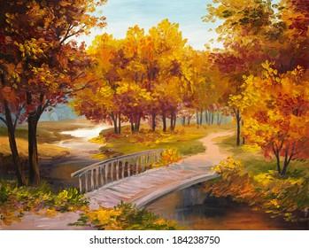 Oil Painting - autumn forest with a river and bridge over the river, bright red leaves