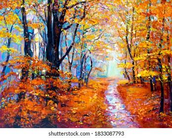 Oil painting. Autumn painting. Modern art.