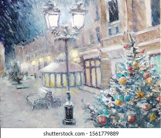 Oil painting - Beautiful snowy winter scenery of Christmas holiday street at the in the Old Town. Xmas tree near lighting lantern on picture