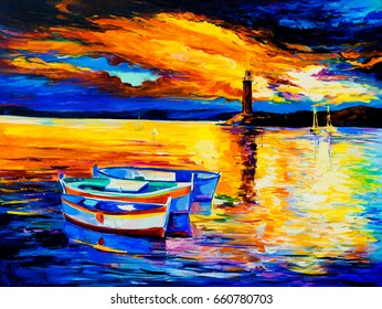 Oil painting of a beautiful sunset and boats. Modern impressionism