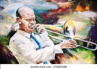 oil painting, Black Jazz Flugelhorn Player