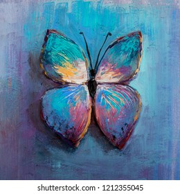Oil painting of blue butterfly
