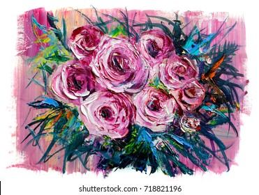 Oil painting a bouquet of roses . Impressionist style.