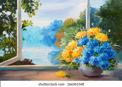 oil painting - bouquet of spring flowers on a table near the window