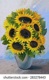 Oil painting - bouquet of sunflowers in a vase on an abstract background, beautiful flowers