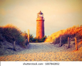 Oil painting, brush strokes. Historical lighthouse. Shinning lighthouse,  dunes and pine tree. Tower illuminated with strong warning light, dark sky in background.