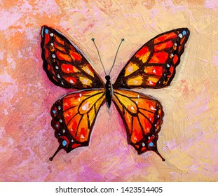 Oil painting  butterfly in modern style.