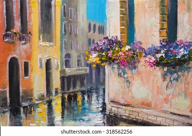 oil painting, canal in Venice, Italy, famous tourist place, colorful impressionism