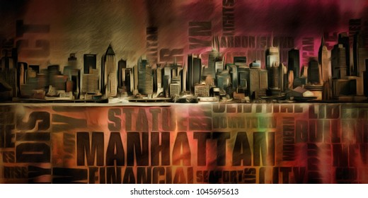 Oil painting canvas, New York Harbor. 3D rendering