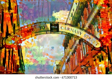 oil painting carnaby street sign london, england