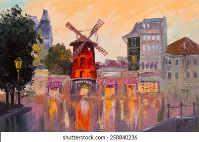 Oil painting cityscape - Moulin rouge, Paris, France. colorful art