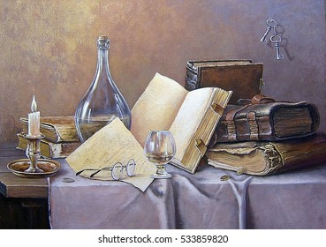 Oil painting, classical still life in the old style