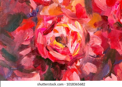 Oil painting close-up flower. Big red violet flowers rose peony closeup macro on canvas. Modern Impressionism. Impasto artwork.