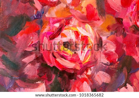 3f081f197bf Oil painting close-up flower. Big red violet flowers rose peony closeup  macro on