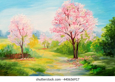 oil painting, colorful forest, c�herry blossoms, art watercolour