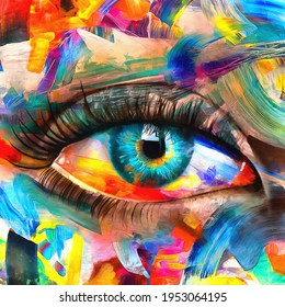 """""""Fluorite"""" - oil painting. Conceptual abstract picture of the eye. Oil painting in colorful colors. Conceptual abstract closeup of an oil painting and palette knife on canvas."""