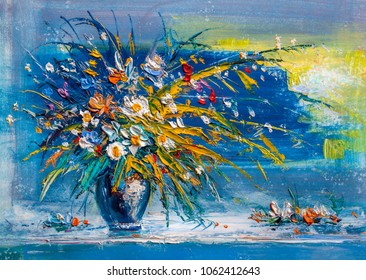 Oil Painting daisies flowers in a vase.