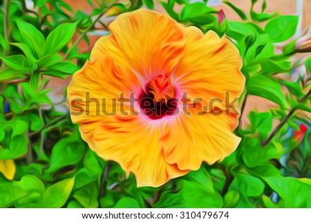 Oil painting dark yellow flowers garden stock illustration 310479674 oil painting dark yellow flowers in the garden mightylinksfo