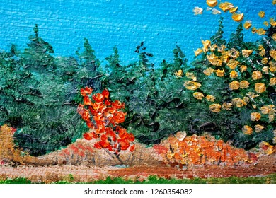 Oil painting detail of fall colors and scene.