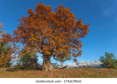 Oil painting effect of autumn colored oak tree with dolomitic Catinaccio - Rosengarten peaks in the background, Tires Valley, South Tyrol, Italy. Concept: autumn landscape in the Dolomites