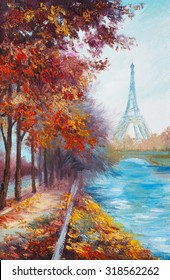 Oil painting of Eiffel Tower, France, autumn landscape