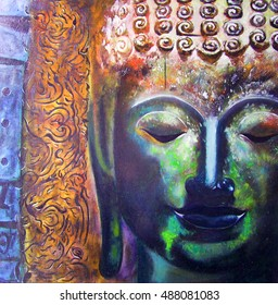 Oil painting face of buddha with abstract background.