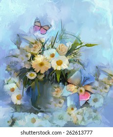 Oil painting flower with butterfly, Vase with still life a bouquet of gerbera and daisy flowers with green, blue color background