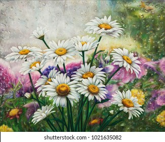 Oil painting, flowers, bouquet, camomilles