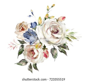 oil painting flowers. floral illustration on canvas, Leaf and buds. Botanic composition for greeting card.  branch of flowers - roses isolated on white background