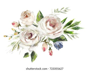 oil painting flowers. floral illustration on canvas, Leaf and buds. Botanic composition for wedding or  greeting card.  branch of flowers - roses isolated on white background