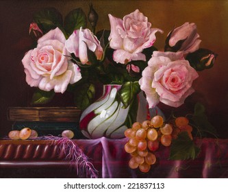oil painting with flowers roses, still life painting