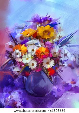 Oil Painting Flowers Vase Hand Paint Stock Illustration Royalty